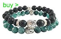 Buddha Bracelet with Lava Green Jade Round Beads