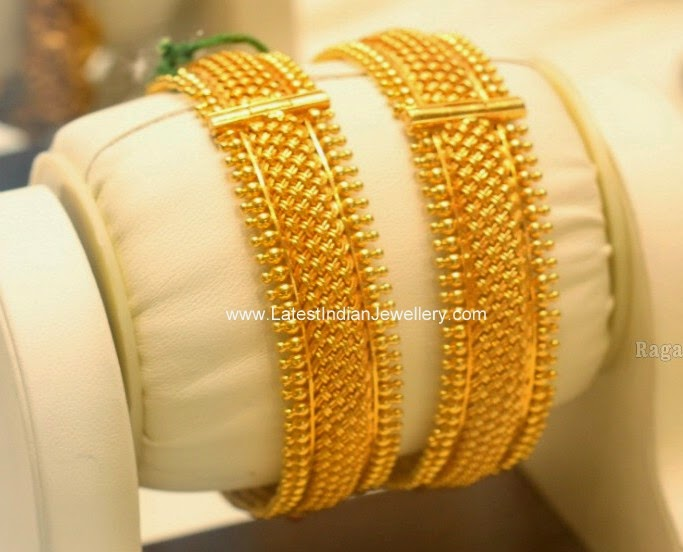 Plain Gold Bangles Pair Latest Indian Jewellery Designs