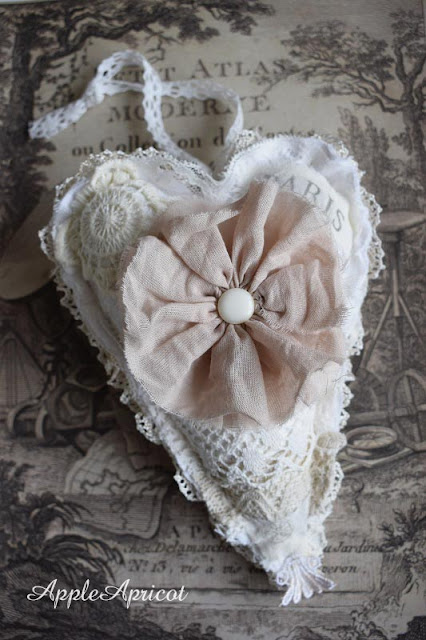 Lace heart with fabric flower