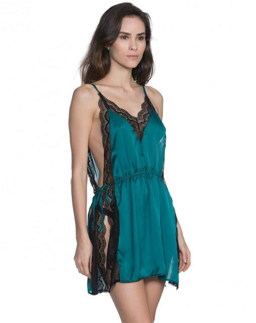 camisola mini renda esmeralda