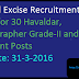Central Excise Recruitment 2016 Apply for 30 Havaldar, Stenographer Grade-II and Tax Assistant Posts
