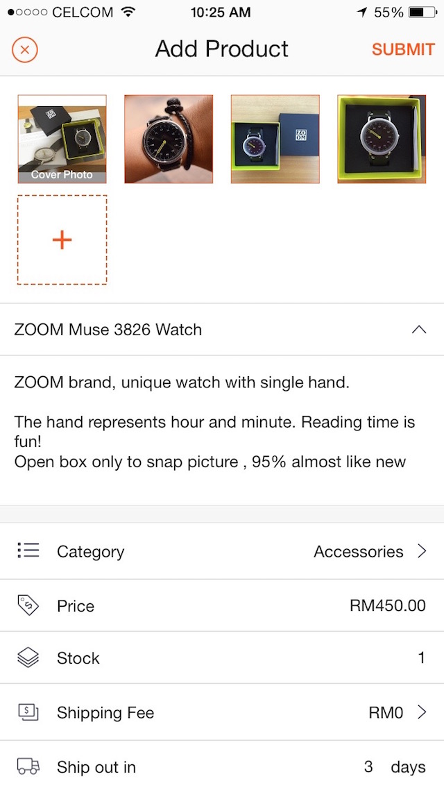 My first item put on sale on Shopee Malaysia, one of the pictures is taken from my Instagram acc