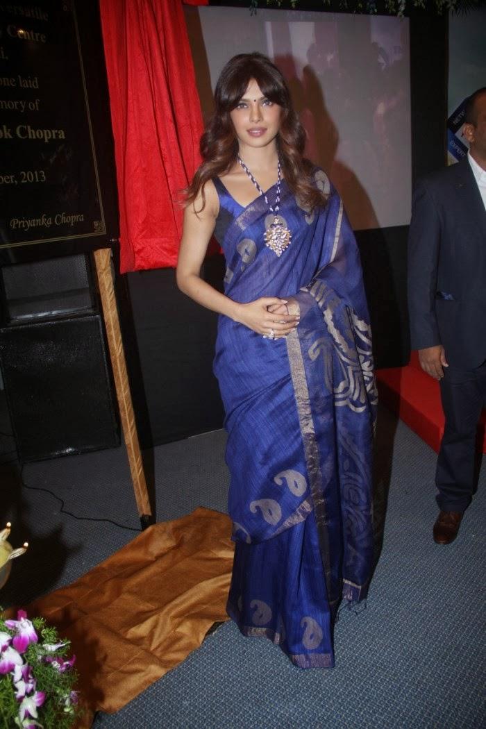 Priyanka Chopra Latest Photos In Blue Saree - Hot Blog Photos-9780
