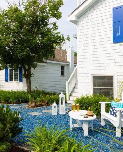 Ocean Blue Glass Mulch Garden Design Decor Idea