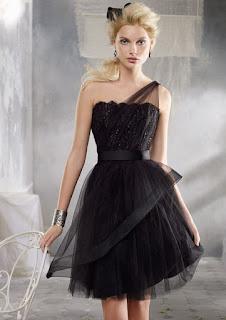 A-Line One-Shoulder Lace Zipper Back Tulle Mini Bridesmaid Dresses