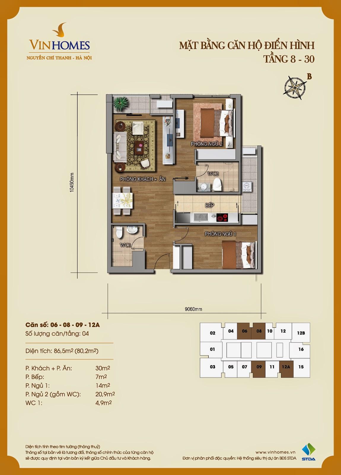 Mặt bằng chi tiết căn hộ 06 - 08 - 09 - 12A  Vinhomes Nguyễn Chí Thanh