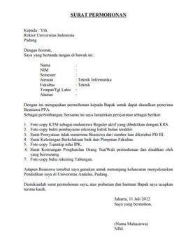 Contoh Surat Permohonan Yang Baik dan Benar