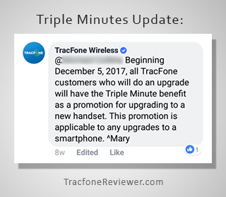 triple minutes from tracfone udpate
