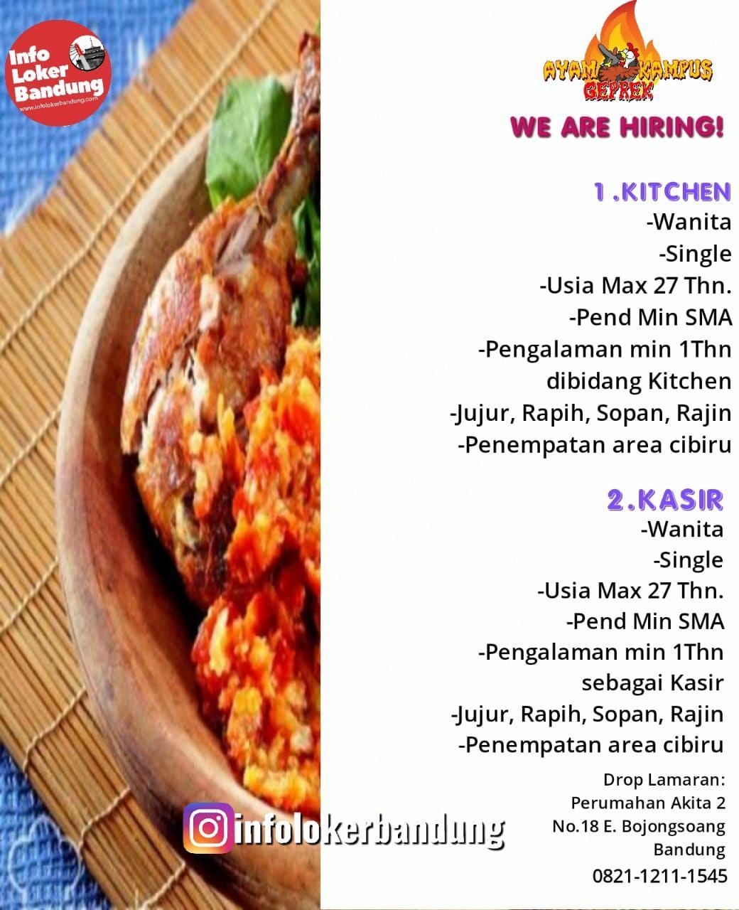 Lowongan Kerja Ayam Geprek Kampus Indonesia Bandung Maret 2019