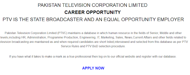 PTV New Jobs January 2019 | Online Registration