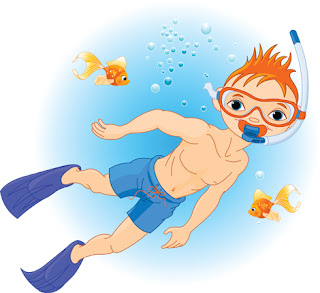 Clipart Image of a Little Boy Snorkelling