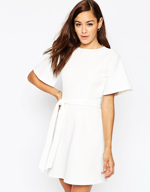 white belted kimono dress, white tie waist dress,