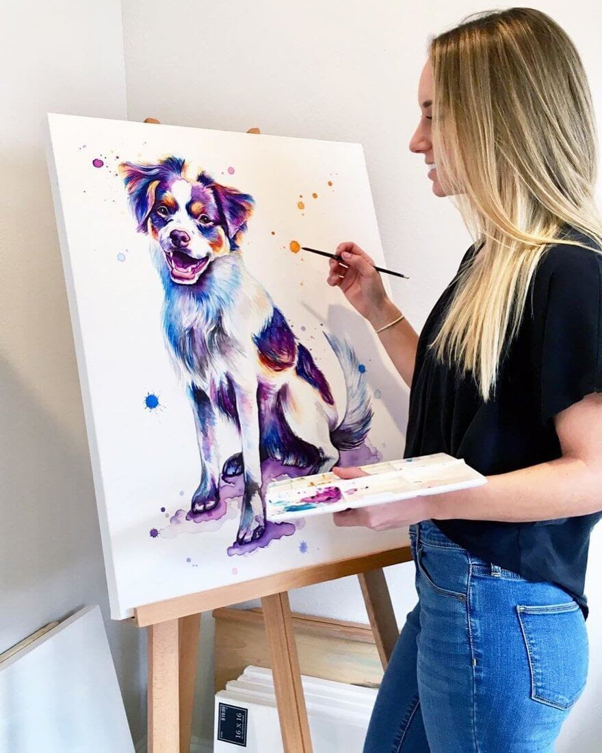 02-Dog-Lindsay-Michelle-Colorful-Domestic-and-Wild-Animal-Paintings
