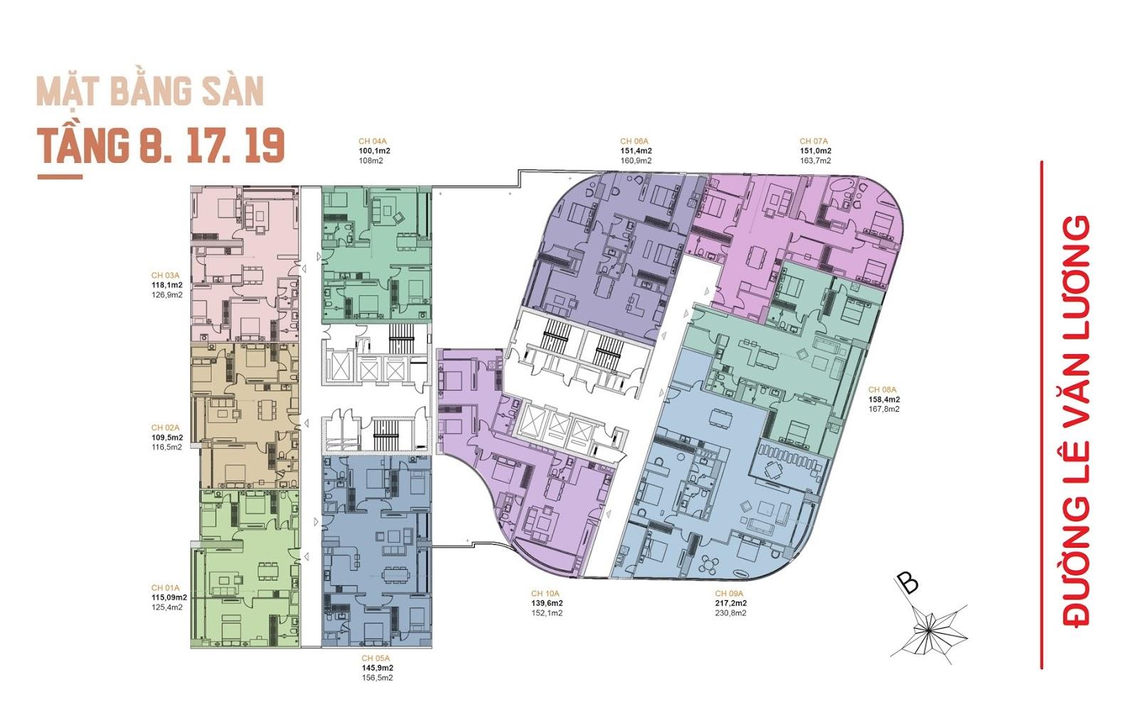 Mặt bằng điển hình tầng 8,17,19 chung cư manhattan tower