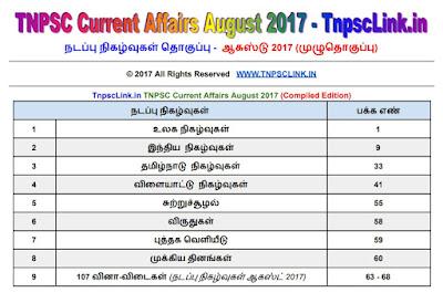 TNPSC Current Affairs August 2017 Tamil  Download PDF
