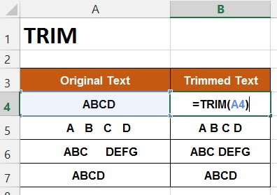 HOW TO USE TRIM FUNCTION IN EXCEL