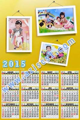 Frame kalender tahun baru 2015 isi tiga foto