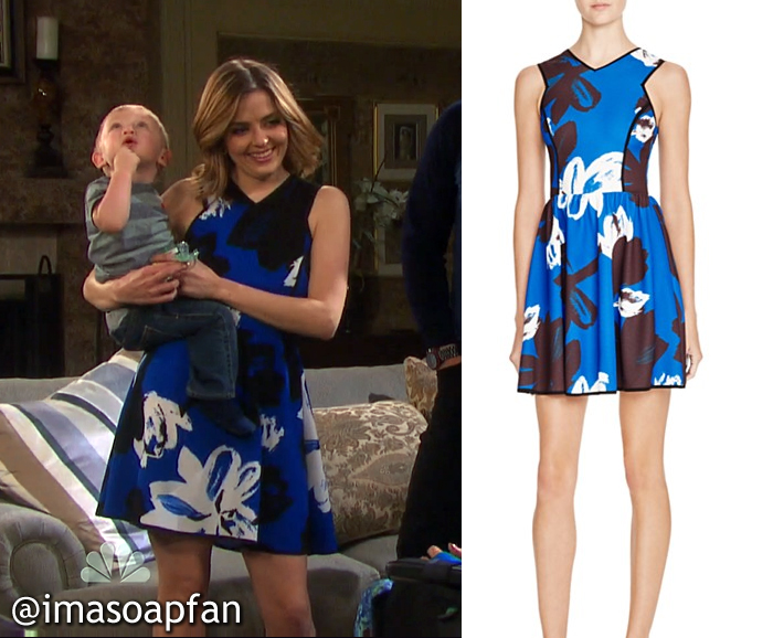 Theresa Donovan's Blue, Black, and White Floral Print Dress  - Days of Our Lives, Season 51, Episode 08/30/16