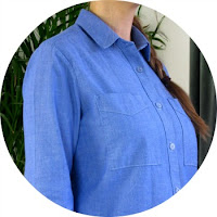 Chambray Grainline Archer shirt via SEWN sewing blog
