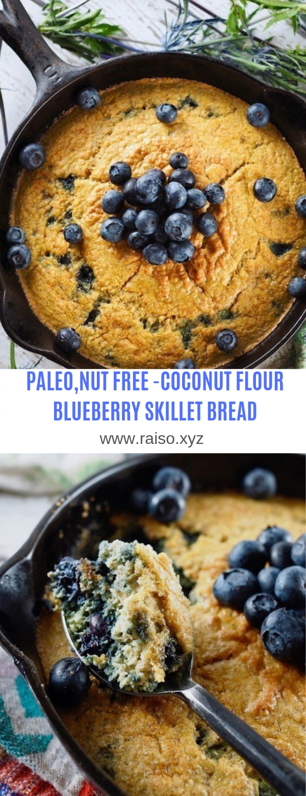 PALEO,NUT FREE-COCONUT FLOUR BLUEBERRY SKILLET BREAD