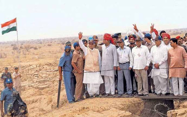 Atal Bihari Vajpayee, George Fernandes, APJ Abdul Kalam, and R Chidambaram in Pokhran after the nuclear tests