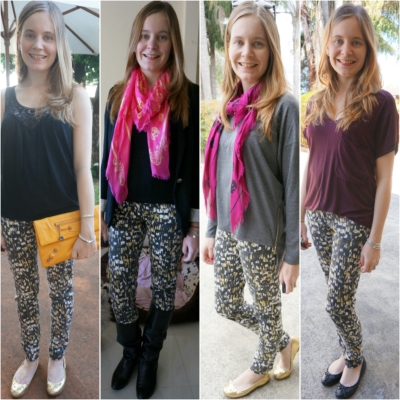 Away From Blue Blog 1 pair of printed jeans worn 4 ways multi-seasonal