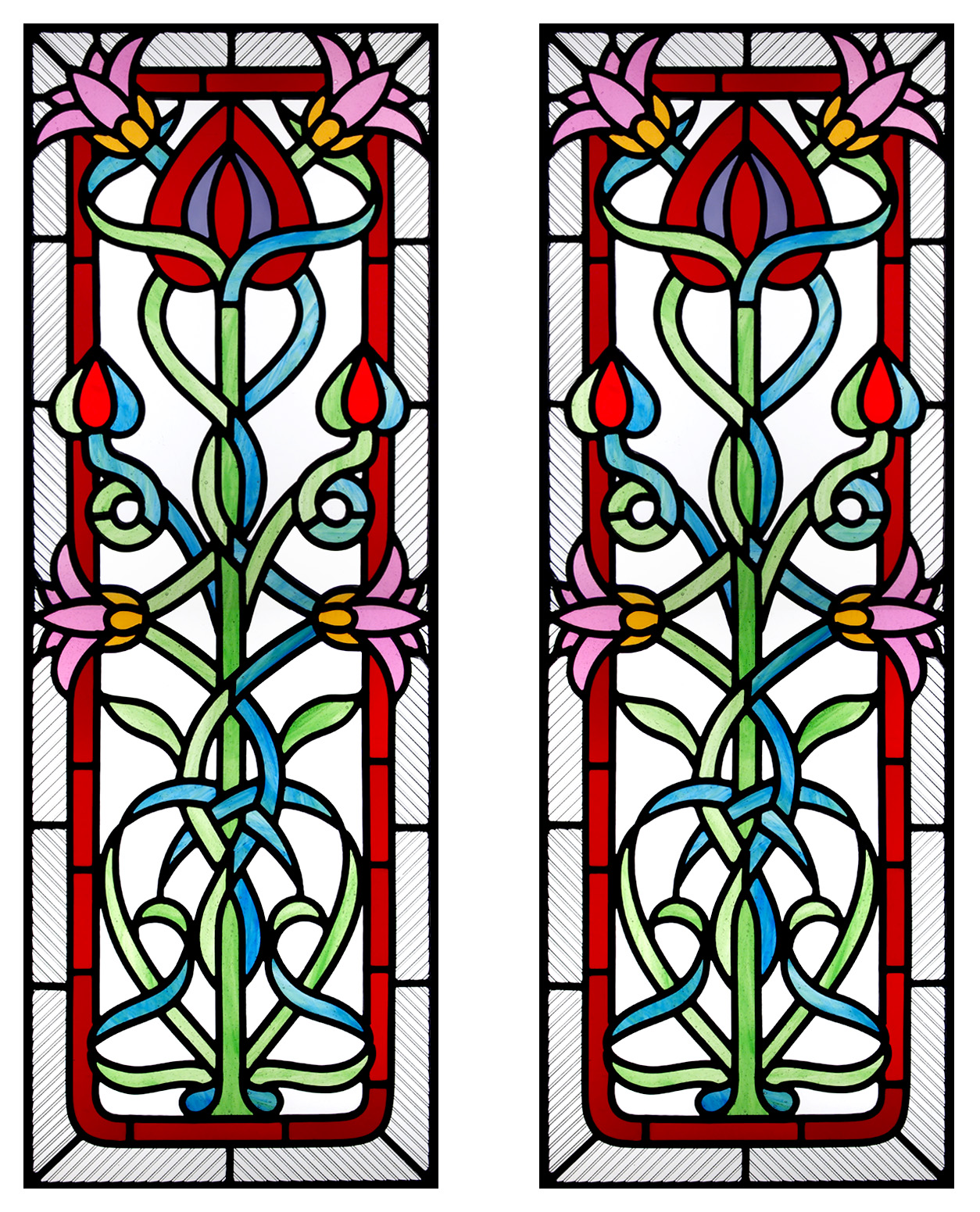 Through The Round Window: Art Nouveau Stained Glass Door ...