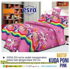 Sprei Custom Katun Lokal Anak Kuda Pony Pink Esra Kartun Karakter Pink