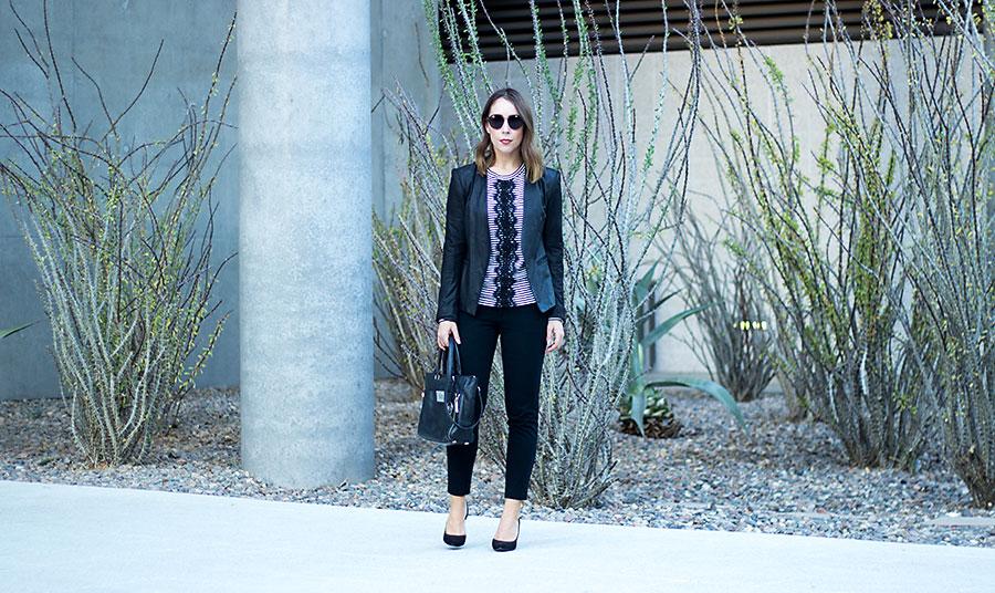 Business Casual for women, work attire, striped t-shirt, black blazer, black pants, office attire for women, women business casual