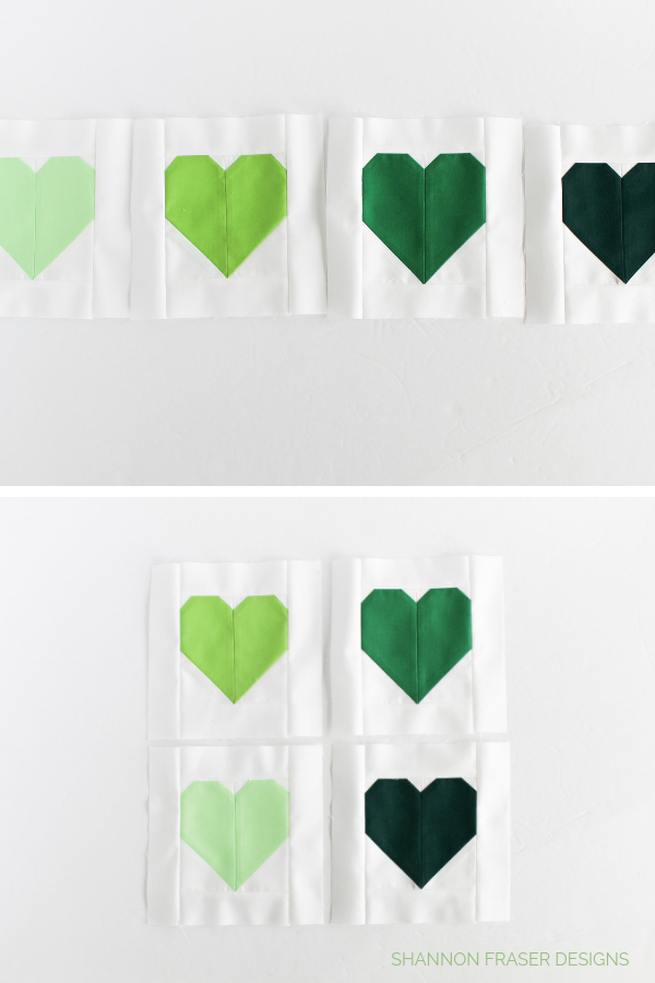 Green modern heart blocks | Hearts for Christchurch | Call to action for quilt drive | Shannon Fraser Designs