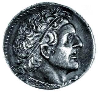 retrato de Ptolomeo I Soter en una moneda de plata tetradrachm, Alejandría, Egipto, siglo III aC.