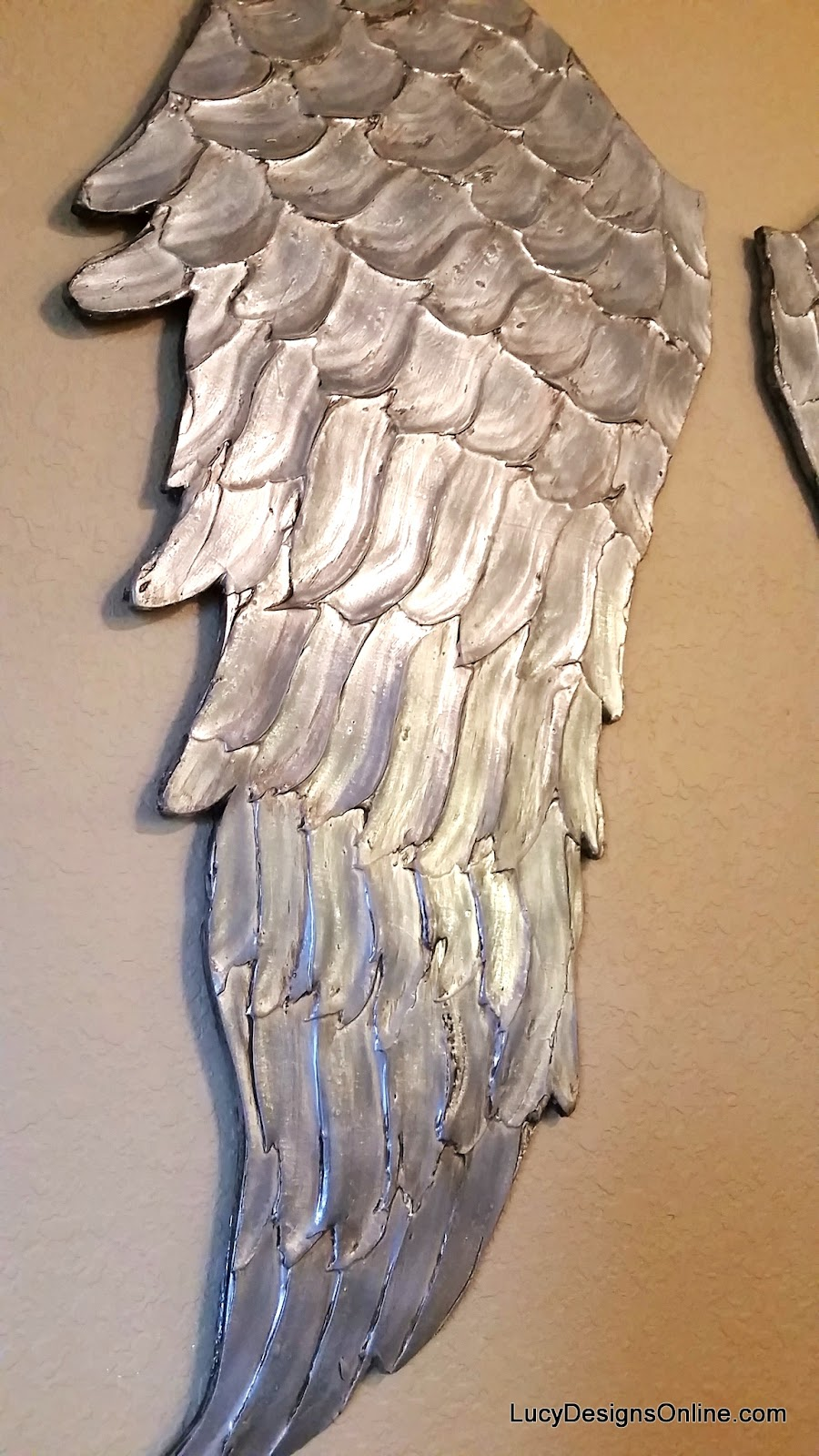 large silver angel wings wall art