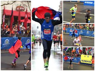 中華民國飛舞的國旗,飄揚在歷史最悠久的波士頓馬拉松賽道上