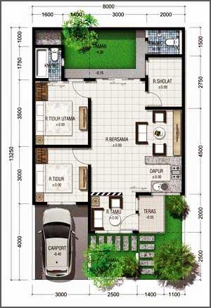 denah rumah minimalis modern 1 lantai mushola