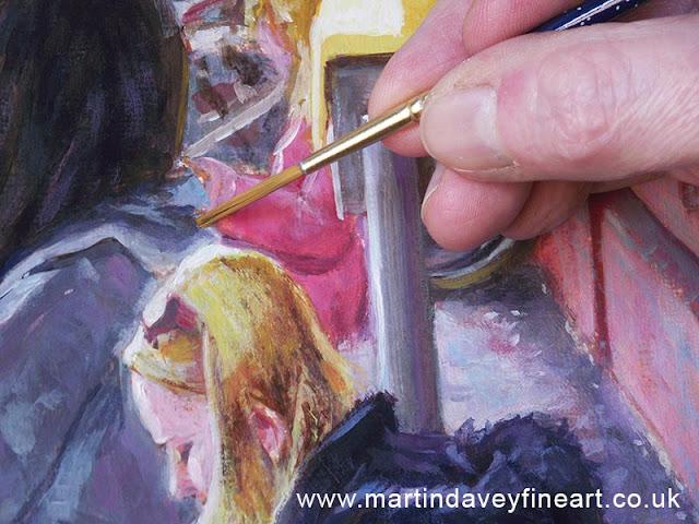 woman sitting WIP painting artist brush Davey.