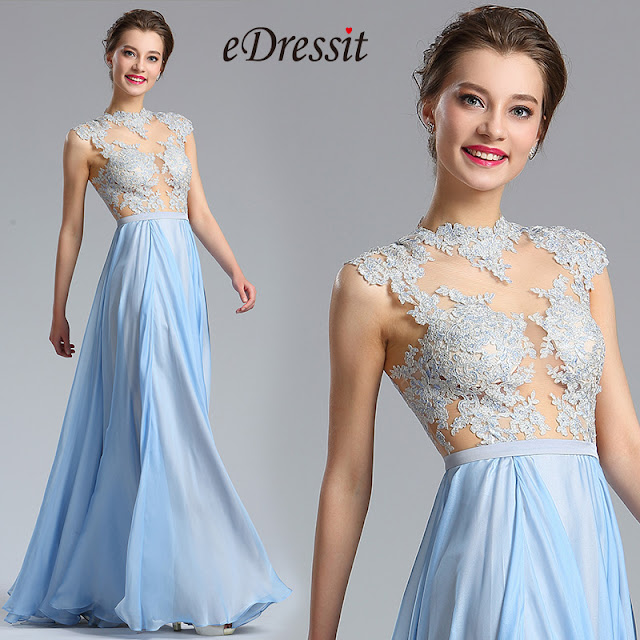 Halter Lace Blue Evening Dress Formal Gown