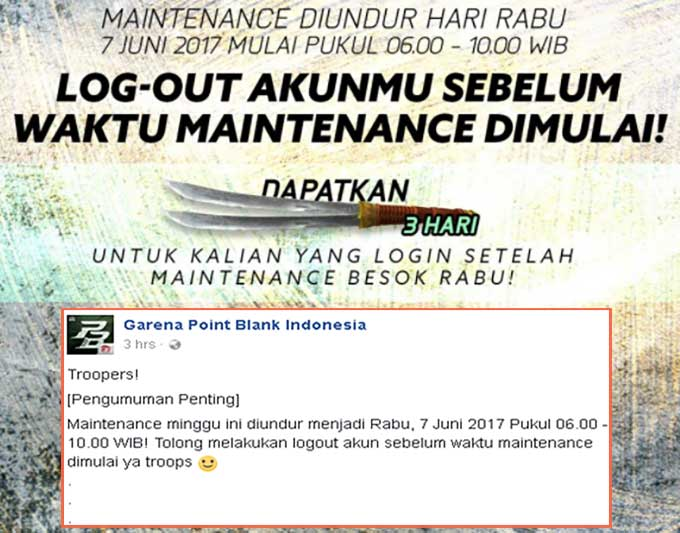 Informasi Maintenance Server PB Garena 06 Juni 2017