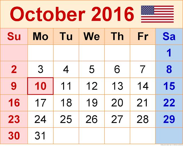 October 2016 Calendar with Holidays[USA, UK, Canada]