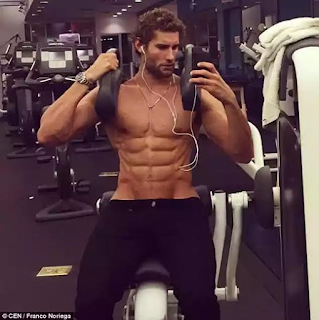 Top Latino male model in the gym