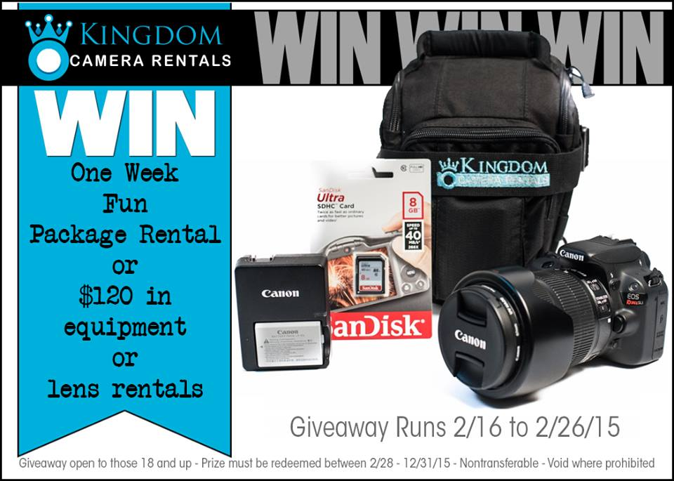 Kingdom Camera Rentals Giveaway – Fun Package Rental with $120 in Equipment