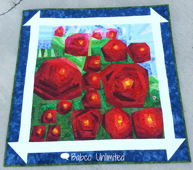 BabcoUnlimited.blogspot.com --I Looked Out the Window Quilt, Painting the Roses Red Art Quilt