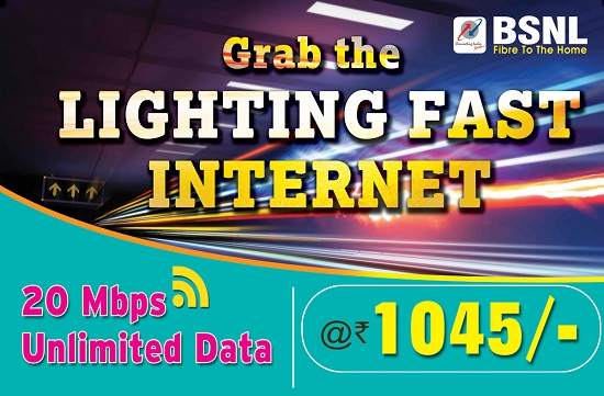 BSNL launches 20Mbps Unlimited Fiber Broadband plans - 'Fibro ULD 1045 CS48' & 'Fibro ULD 1395 CS49' to all customers in Kerala Circle from 1st June 2017 on wards