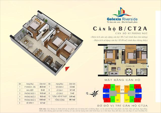 Thiết kế căn hộ B, dt 85m, 3 ngủ, tòa CT2A Gelexia Riverside