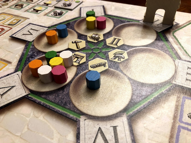 Rondel and action selection in Trajan, board game review, Renegade Game Studios, photo by Benjamin Kocher