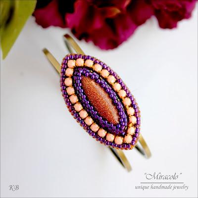 bransoletka z piaskiem pustyni, bracelet with goldstone