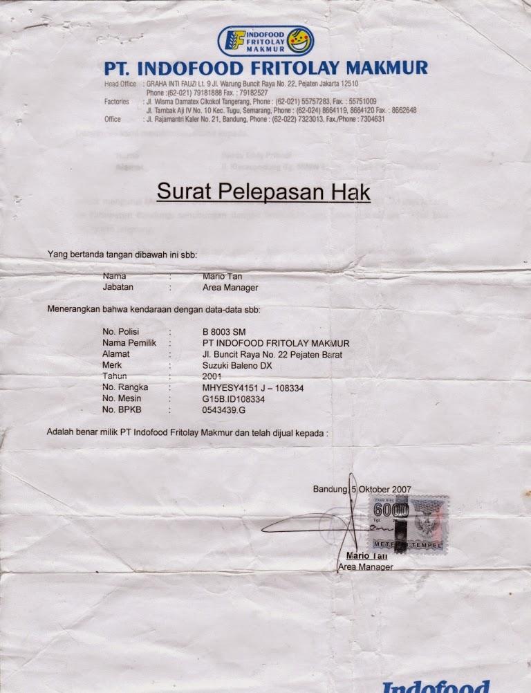 Surat Pelepasan Hak dari PT. Indofood Fritolay Makmur
