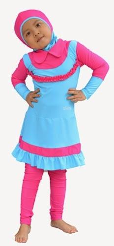 Contoh Desain Baju Muslim Renang Anak