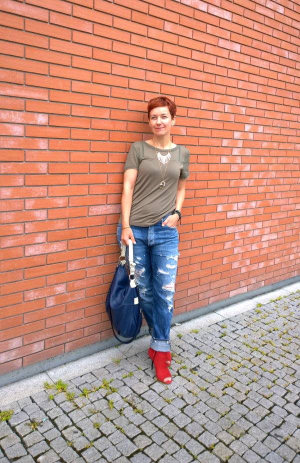 Boyfriend Jeans, Red Ankle Boots, Light Khaki Top - Distressed in the City | Funky Jungle, fashion and personal style blog