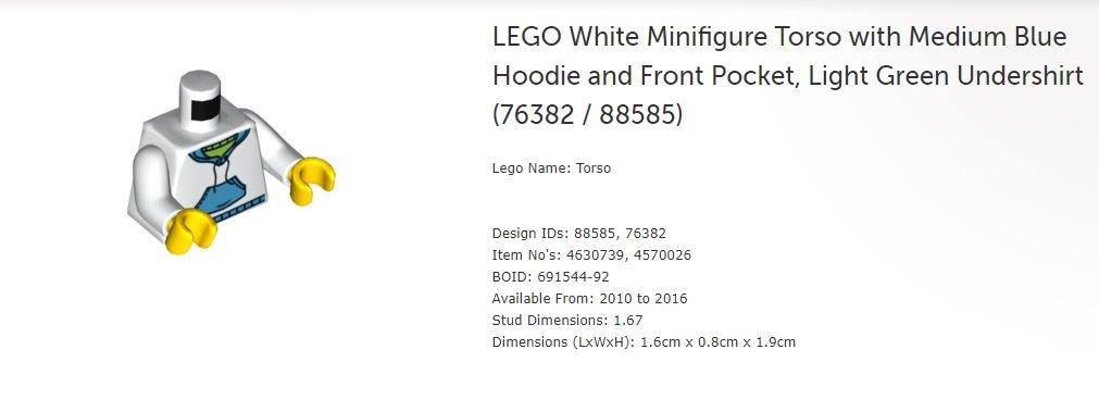 LEGO 76382 White TORSO w// Med Blue Hoodie /& Front Pocket Light Green Undershirt