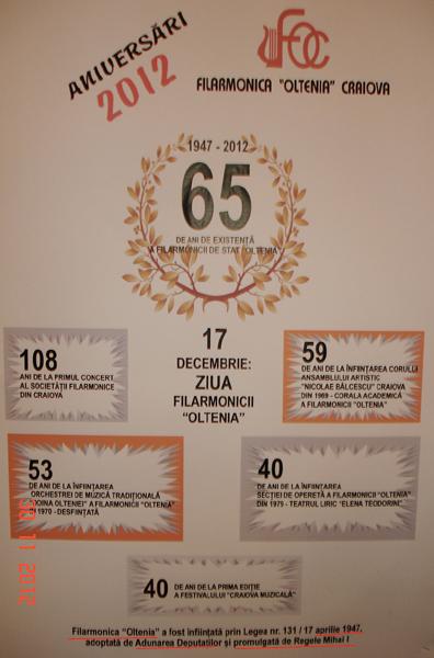 Semnatura regala pe Filarmonica Oltenia Craiova